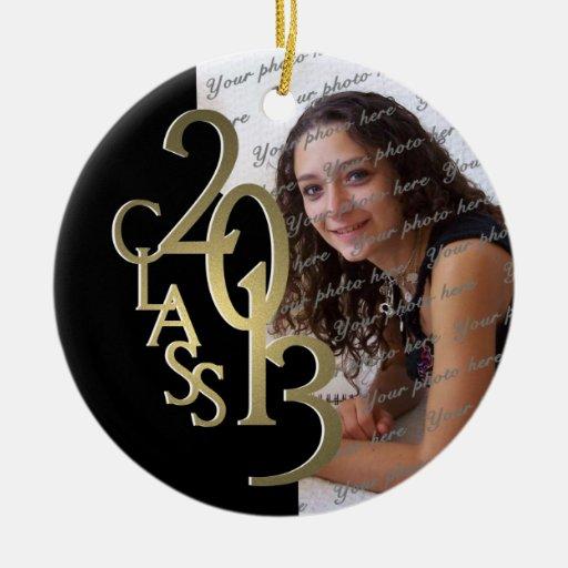 Oro 2013 y negro de la foto de la graduación de la ornamento para arbol de navidad