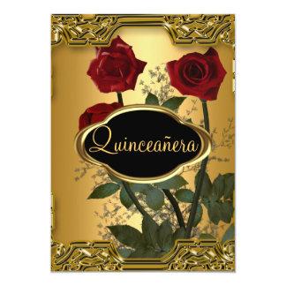 Oro 3 de la fiesta de cumpleaños de Quinceanera Invitación 12,7 X 17,8 Cm