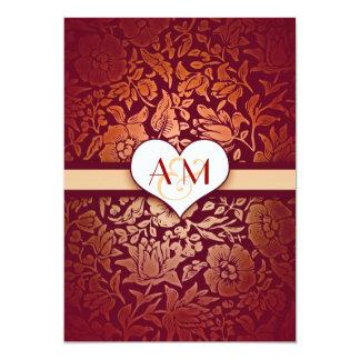 oro 50 invitaciones rojas del damasco del invitación 12,7 x 17,8 cm