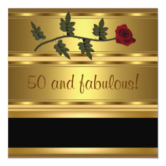Oro 50 y fiesta de cumpleaños fabulosa invitación 13,3 cm x 13,3cm