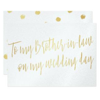 """Oro """"a mi cuñado en mi día de boda """" invitación 12,7 x 17,8 cm"""