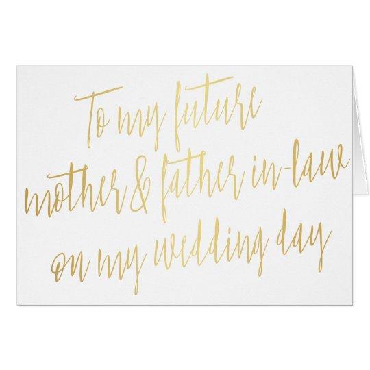 """Oro """"a mi madre y suegro futuros """" tarjeta de felicitación"""