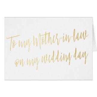 """Oro """"a mi suegra en mi día de boda """" tarjeta de felicitación"""