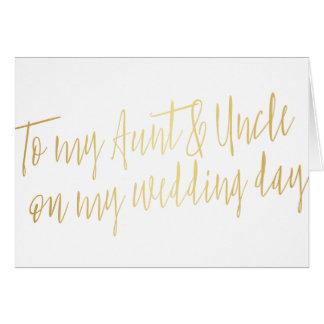 """Oro """"a mi tía y tío mi encendido día de boda """" tarjeta de felicitación"""