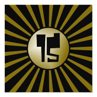 Oro adolescente de los muchachos y tarjeta negra invitación 13,3 cm x 13,3cm