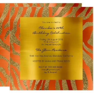 Oro anaranjado coralino de la mostaza de la piel invitación 13,3 cm x 13,3cm