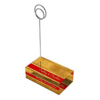 Oro atractivo y portatarjetas de encargo rojo de soportes de tarjeta de mesa