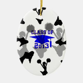 Oro azul claro 2013 de la animadora adorno navideño ovalado de cerámica