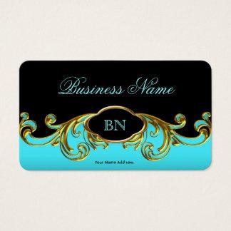Oro azul del trullo negro con clase elegante tarjeta de visita