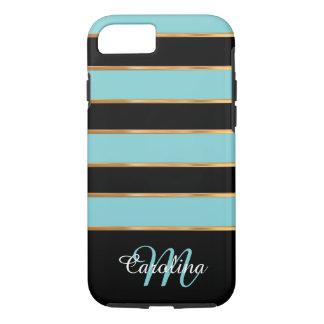 Oro azul verde azulado y negro, nombre y monograma funda iPhone 7
