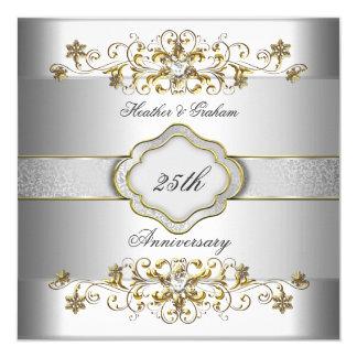 Oro blanco de plata Templat del 25to aniversario Invitación 13,3 Cm X 13,3cm