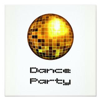 Oro blanco Mirrorball del acontecimiento del baile Invitación 13,3 Cm X 13,3cm