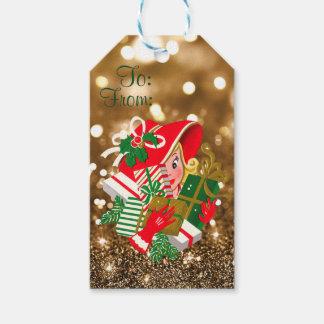Oro Bokeh de los regalos de Navidad de señora Etiquetas Para Regalos