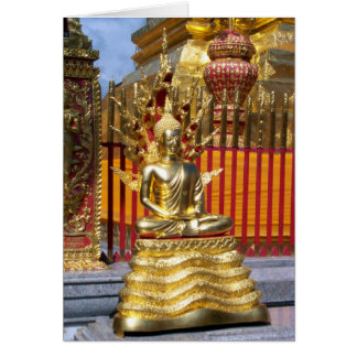 Oro Buda de Wat Phrathat Doi Suthep Tarjeta De Felicitación