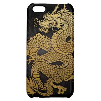 oro chino en espiral del dragón en negro