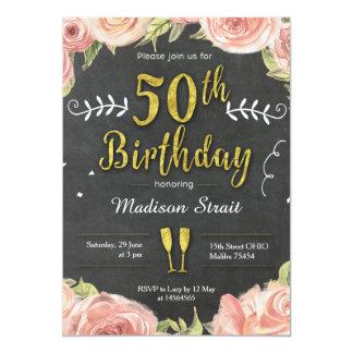 Oro cincuenta e invitación fabulosa de la fiesta