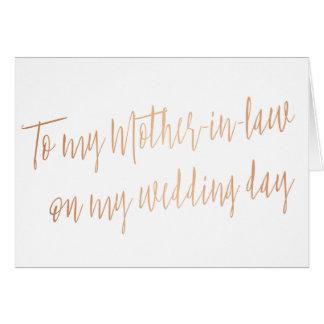 """Oro color de rosa """"a mi suegra en mi día de boda """" tarjeta de felicitación"""
