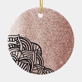Oro color de rosa con el medallón negro adorno de cerámica