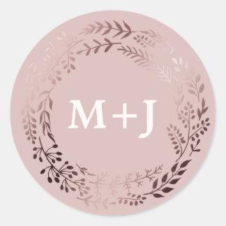 Oro color de rosa elegante y sellos rosados del