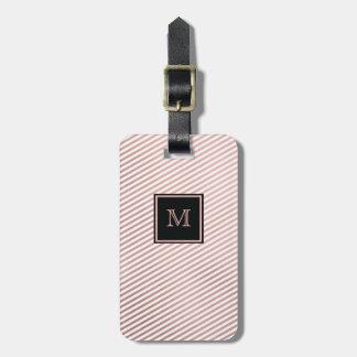 Oro color de rosa y etiqueta rayada blanca del