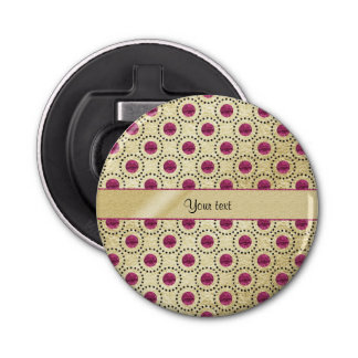 Oro con clase con los puntos rosados del brillo abrebotellas