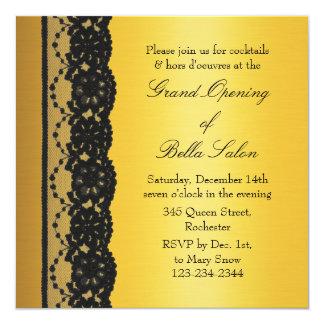 Oro con gran inauguración del negocio del cordón invitación 13,3 cm x 13,3cm