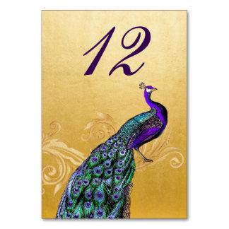 Oro con la tarjeta del número de la tabla del boda