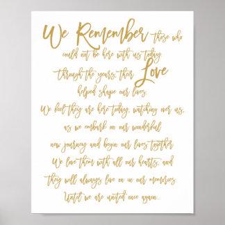 Oro conmemorativo de la muestra del boda indicado póster