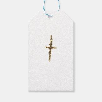 Oro cruzado del Jesucristo horizontal Etiquetas Para Regalos