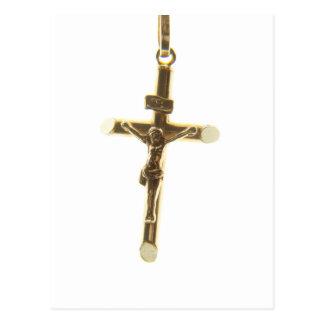 Oro cruzado del Jesucristo horizontal Postal