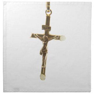 Oro cruzado del Jesucristo horizontal Servilleta De Tela