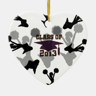 oro de 2013 púrpuras adorno navideño de cerámica en forma de corazón