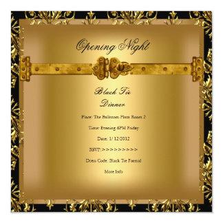 Oro de apertura del negro del damasco del negocio invitación 13,3 cm x 13,3cm