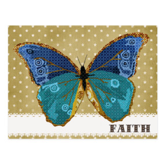 Oro de Boho y postal azul de la fe de la mariposa