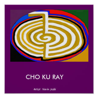 Oro de CHOKURAY - símbolo básico de Reiki Póster