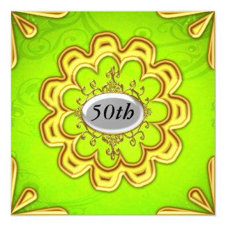 Oro de la fiesta de cumpleaños de la cal del oro invitación 13,3 cm x 13,3cm