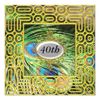 Oro de la fiesta de cumpleaños de Peackok del oro Invitación 13,3 Cm X 13,3cm