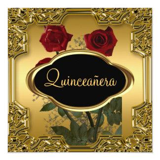 Oro de la fiesta de cumpleaños de Quinceanera Invitación 13,3 Cm X 13,3cm