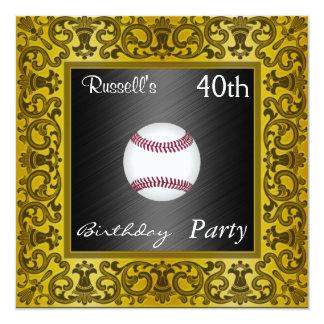 Oro de la fiesta de cumpleaños del béisbol de la invitación