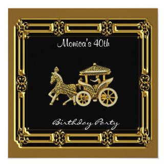 Oro de la fiesta de cumpleaños del carro de la invitación 13,3 cm x 13,3cm