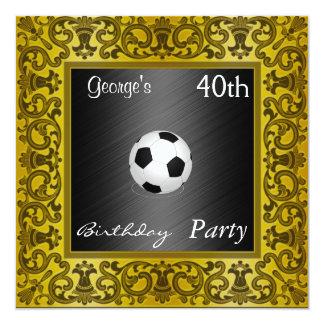 Oro de la fiesta de cumpleaños del fútbol de la invitación 13,3 cm x 13,3cm