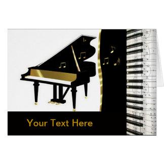 Oro de la invitación del piano y teclado negro