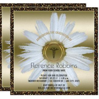 Oro de la margarita de la graduación el | de la invitación 13,3 cm x 13,3cm