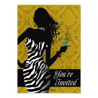 Oro de la noche de las señoras de Bachelorette de Invitación 12,7 X 17,8 Cm