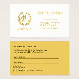 Oro de la peluquería de caballeros y plantilla tarjeta de negocios