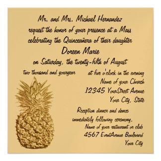 Oro de la piña de Quinceanera metálico Invitacion Personal
