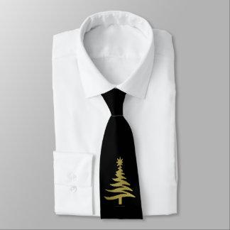 Oro de la plantilla del árbol de navidad en negro corbata personalizada