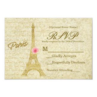 Oro de la torre Eiffel de París y tarjeta elegante Invitación 8,9 X 12,7 Cm