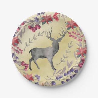 Oro de las bayas del invierno de los ciervos de la plato de papel
