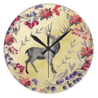 Oro de las bayas del invierno de los ciervos de la reloj redondo grande